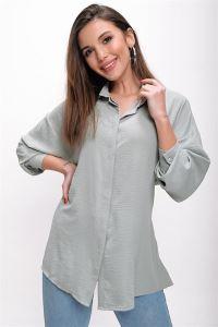Önü Bağlamalı Krep Tunik Gömlek Mint