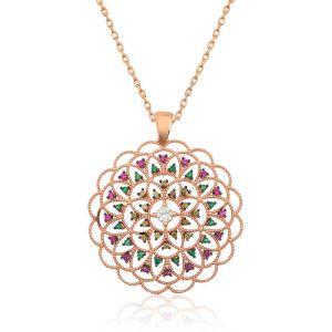 Gümüş Geometrik Desenli Madalyon Kolye