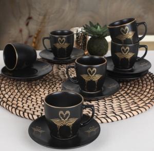 Keramika 6 Kişilik 12 Parça Flamingo Gold Kahve Takımı- 956