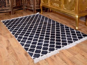 Latex Kaymaz Taban Dijital Baskı Kadife Halı Kupa Siyah-Beyaz 100x200 cm