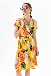 Yaprak Desen Düşük Kol Krep Elbise Sarı