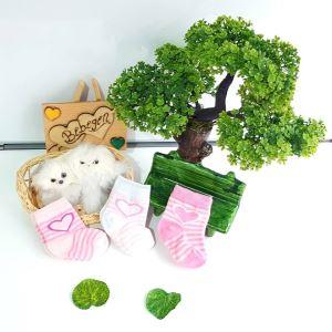 3 lü Kalp Desenli Lüx Bebek Çorap Seti