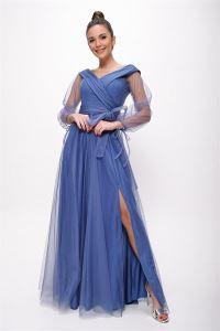 Bağcıklı Balon Kol Tül Uzun Abiye Elbise Koyu Mavi