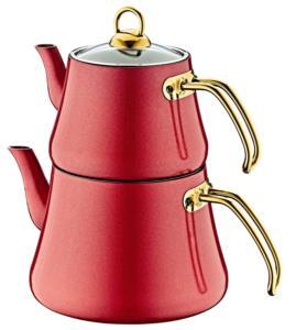 Oms Büyük Boy İndüksiyonlu Elagant Çaydanlık Takımı 8203 Kırmızı