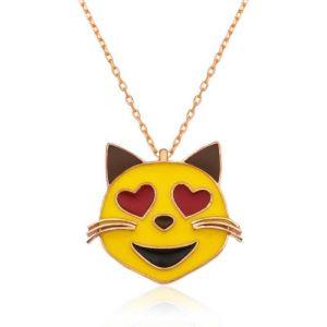Gümüş Kalp Gözlü Kedi Emoji Bayan Kolye