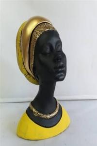 Dekoratif Afrikalı Kadın Biblo 22x16 cm Sarı