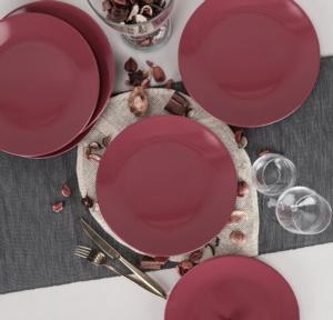 Keramika 6 Parça 26 Cm Ege Servis Tabağı Carmen Kırmızı