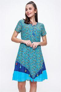 Yaka Ve Etekleri Oyalı Çiçekli Otantik Elbise Turkuaz