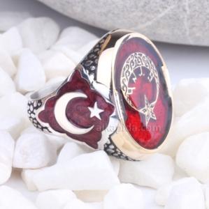 Kırmızı Mineli Ay Yıldız Desenli Gümüş Erkek Yüzük EGY43