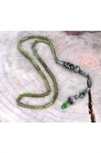 Kesme Yeşil Kazaz Püskül Sıkma Kehribar Tesbih SK-0134