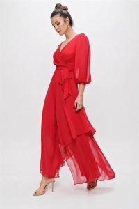 Kruvaze Balon Kollu Uzun Şifon Elbise Kırmızı