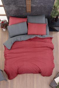 The Fabric Two Colours Antrasit Kırmızı  Tek Kişilik Nevresim  Takımı