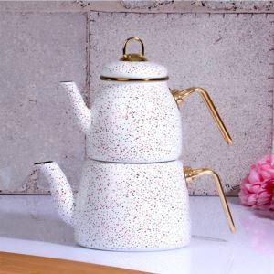 Kitchen World 30502 Granit Orta Boy Emaye Çaydanlık Beyaz