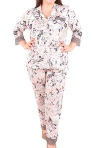 Nicoletta Kadın Pijama Takımı 3/4 Kol Düğmeli Büyük Beden