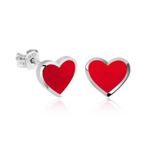 Gümüş Fosforlu Kırmızı Kalp Küpe
