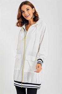Kolu Eteği Şeritli Ribanalı Fermuarlı Ceket Beyaz