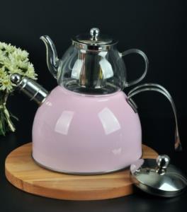 Bayev Düz Renk Düdüklü Cam Çaydanlık-200600-Pudra