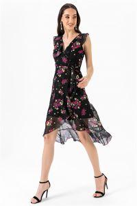 Çiçekli Volanlı Şifon Elbise Fuşya