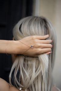 Göz Model Safir Taşlı Rose Kaplama Gümüş Şahmeran