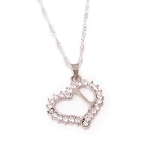 Gümüş I Harf Kalpli Bayan Kolye