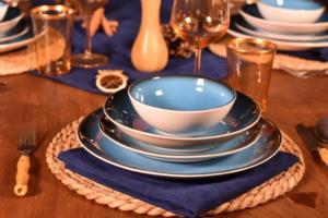 Bambum Mare 24 Parça Porselen Mavi Yemek Takımı- B1732