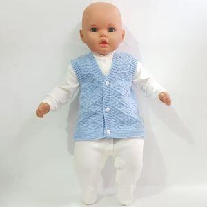 Triko Mavi Erkek Bebek Yelek