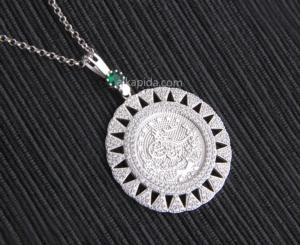 Gümüş İşlemeli Yuvarlak Tuğralı Plaka Kolye PLK04-SİLVER