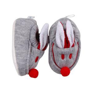 Gri Kırmızı Tavşan Kulaklı Penye Kaymaz Taban Patik