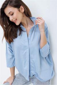 Yarasa Kol Önü Kısa Arkası Uzun Gömlek Bebe Mavi