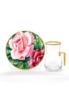 Damla Kulplu Çay Seti 6 lı Rose