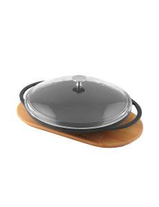 Lava Döküm Saç Kavurma Tavası Metal Kulplu Cam Kapaklı ve Ahşap Altlıklı Çap (Ø) 28 cm