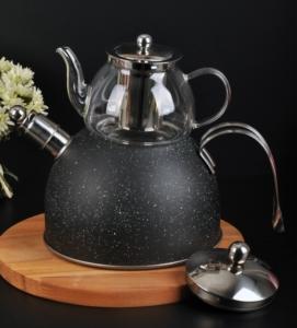 Bayev Granit Düdüklü Cam Çaydanlık-200601- Siyah