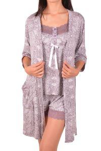 Nicoletta Kadın Şortlu Pijama Takımı Sabahlık Üçlü