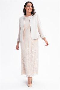 Yakası Kolu Taşlı İçi Dantel Elbise Ceket Büyük Beden Takım Taş