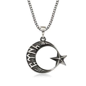 Gümüş Göktürkçe Türk Yazılı Ay Yıldız Erkek Kolye