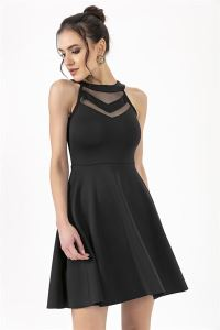Tül Volan Likra Elbise Siyah