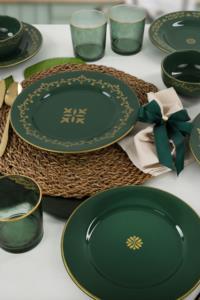 Keramika Riva Yeşil Gold Yemek Takımı 24 Parça 6 Kişilik
