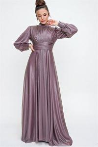 Önü Büzgülü Simli Uzun Abiye Elbise Lila