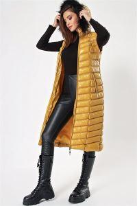 Kürklü Seyyar Kapüşonlu Parlak Uzun Şişme Yelek Sarı