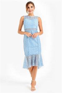Altı Volanlı Dantel Abiye Elbise Bebe Mavi