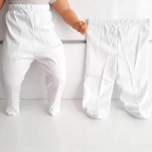 Patikli Beyaz Tek Alt Bebek Penye Pantolon