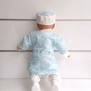 Tuğra Broşlu Parlak Beyaz Turkuaz Belden Bağlamalı Bebek Mevlüt Takımı