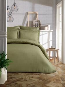 Soley Çift Kişilik Çizgili Saten Nevresim Takımı Elegante Yastık Hediyeli - Haki Yeşil