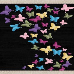 Meg Cloud Renkli Kelebek Desenli Kaymaz Halı MEG283S