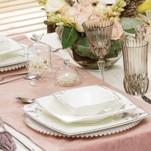 Karaca Fine Pearl Mariposa 62 Parça 12 Kişilik İnci Yemek Takımı Kare