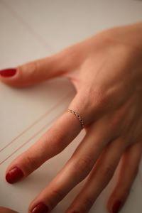 Sıralı Göz Model Safir Taşlı Rose Gümüş Yüzük