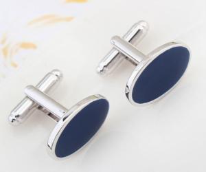Gümüş Mavi Oval Kol Düğmesi