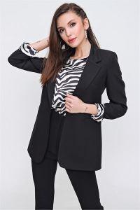 Zebra Desenli İkili Astarlı Ceket Bluz Takım Siyah