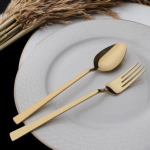 Hasırlı 30 Parça Gold Parlak Bıçaksız Çatal Kaşık Takımı