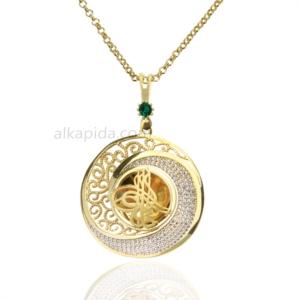 Gümüş İşlemeli Burma Yuvarlak Tuğralı Plaka Kolye PLK10-GOLD